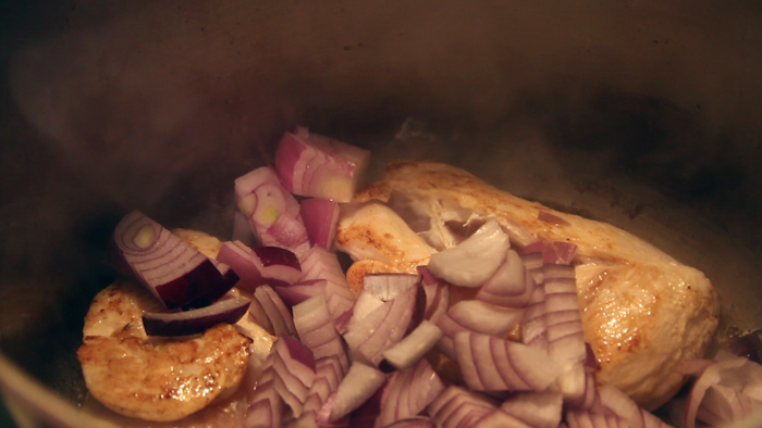Brown the meat and onions